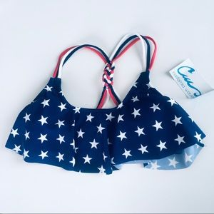 California Waves American Flag Bikini Top